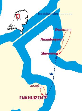 Routekaartje Zuiderzee-arrangement