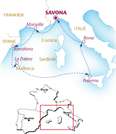 Routekaartje Wandelcruise Middellandse Zee