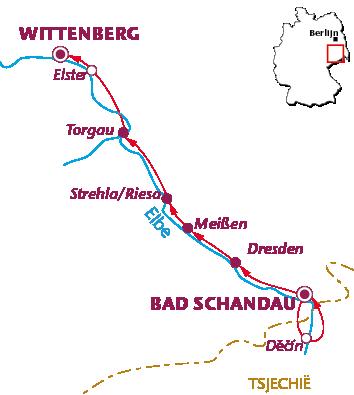 Routekaartje Langs de Elbe (Bad Schandau - Wittenberg)