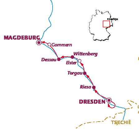 Routekaartje Langs de Elbe (Dresden-Magdeburg)