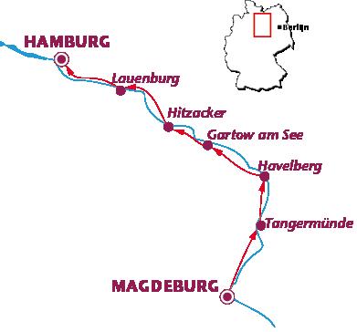 Routekaartje Langs de Elbe (Magdeburg-Hamburg)