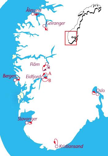 Routekaartje Wandelcruise Noorse Fjorden