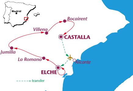 Routekaartje Alicante: Elche en de kust
