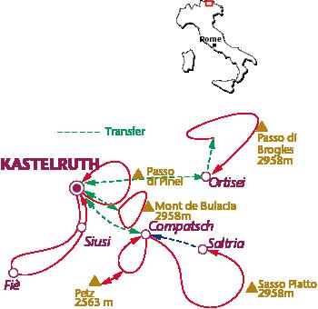 Routekaartje Kastelruth