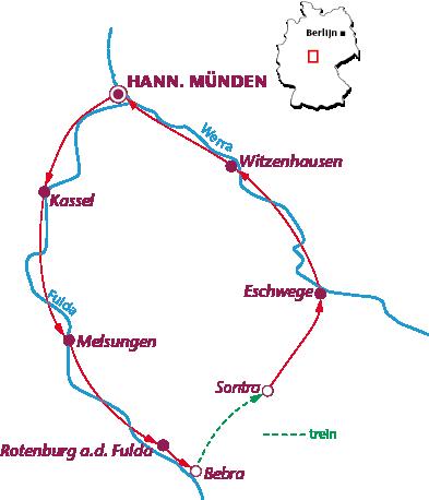 Routekaartje Langs Fulda en Werra