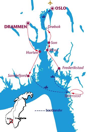Routekaartje Oslo-fjord