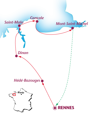 Routekaartje Van Rennes naar Mont Saint-Michel
