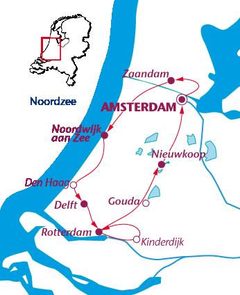 Routekaartje Hollandse Hoogtepunten