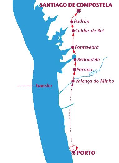 Routekaartje Van Porto naar Santiago de Compostela