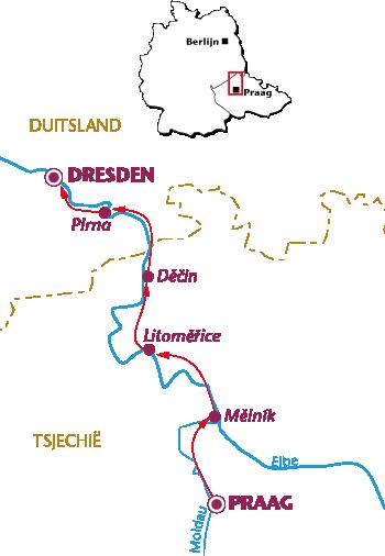 Routekaartje Langs de Elbe (Praag-Dresden)