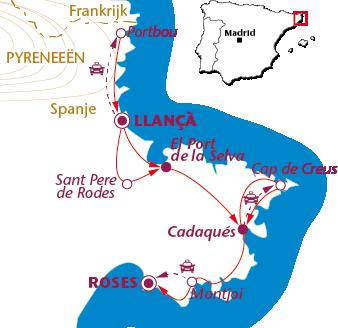 Routekaartje Wandelen langs de Costa Brava