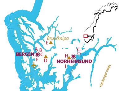 Routekaartje Bergen en de Hardangerfjord