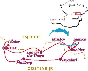 Routekaartje Weinviertel & Iron Curtain Trail