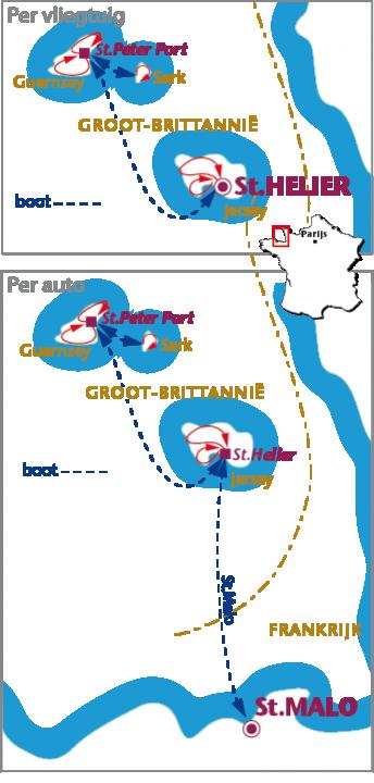 Routekaartje Jersey, Guernsey en Sark, Auto/Vliegtuig