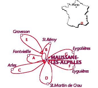 Routekaartje Maussane-les-Alpilles
